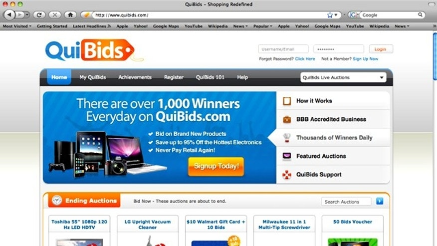 QuiBids.com, an online penny auction site, notes that it has an option that gives users a chance to recoup their losses.