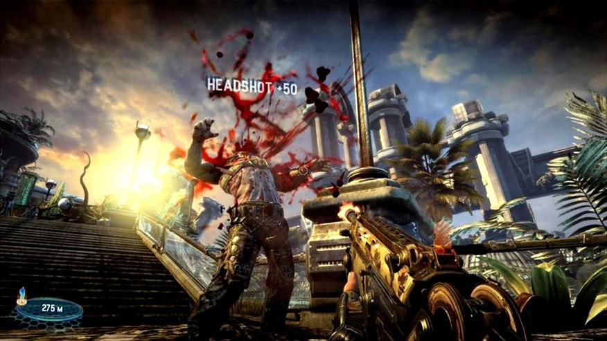 A screenshot of the video game Bulletstorm, showing just one of the many violent ways of killing for which the game rewards players.