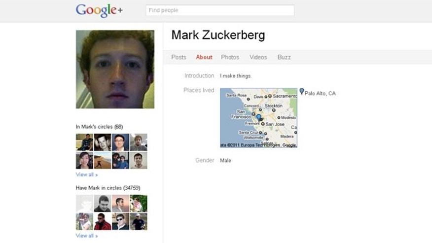Mark Zuckerberg's Google+ profile.