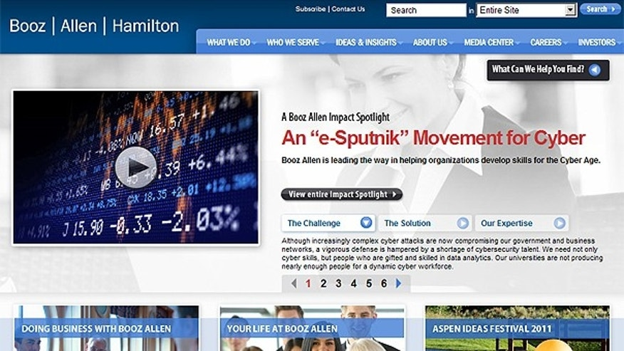 This screengrab shows the homepage of Booz Allen Hamilton Inc.