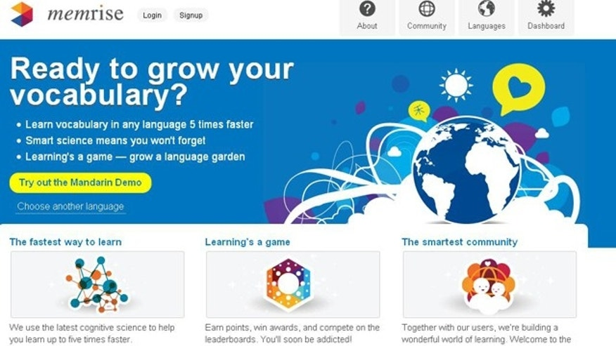 A screenshot of the memrise.com website, which helps grow your vocabulary and turns learning into a sport.