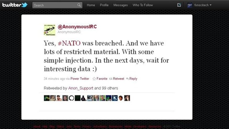 A mesage posted on a Twitter feed affiliated with the Anonymous hacking collective claims that the group hacked into a NATO server.