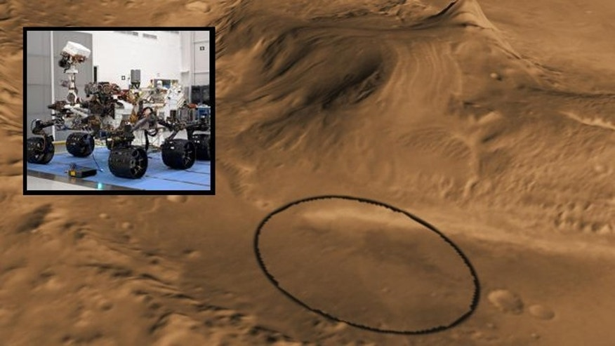 This computer-generated view shows Mars' Gale crater (circled), which NASA has selected as the landing site for the next Mars rover (inset), due to hit the planet in August 2012.