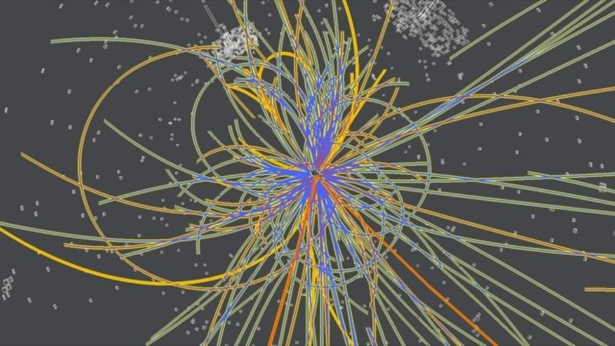 This simulation shows the production of a Higgs boson following a collision of two protons. The Higgs decays into two jets of hadrons and two electrons