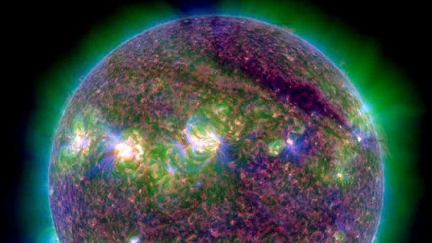 A powerful M9-class solar flare erupted from the sun at 10:09 p.m. EDT on July 29 (0209 GMT July 30).