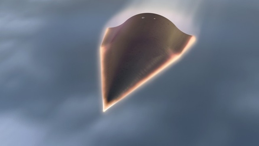 The Falcon HTV-2 is an arrow-shaped aircraft that launches in a rocket, separates and then glides at hypersonic speeds of 13,000 mph through the Earth's atmosphere.