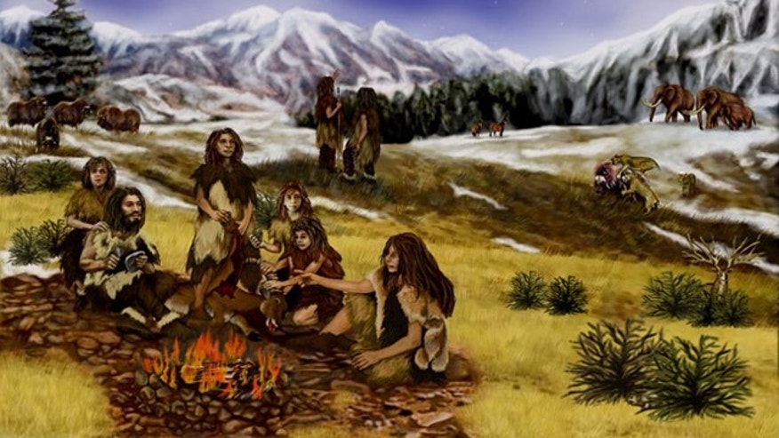 An artist imagines the typical Neanderthal family.