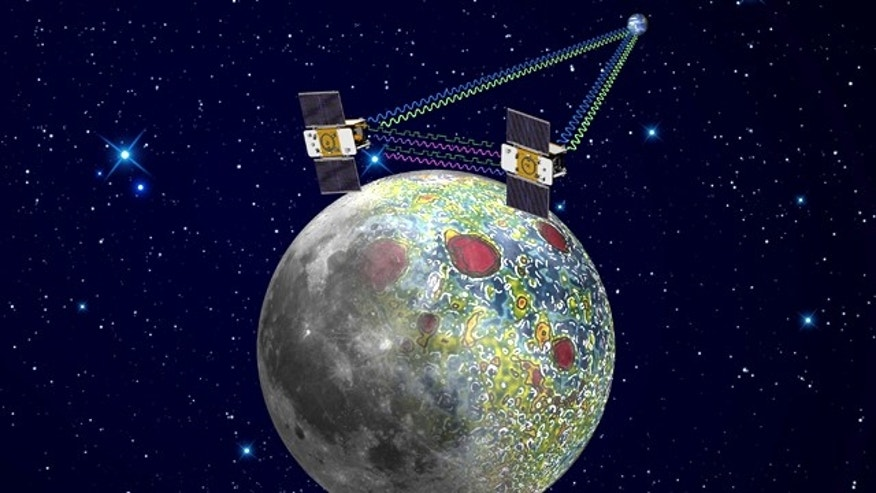 This artist's rendering shows the twin Gravity Recovery And Interior Laboratory (GRAIL) spacecraft, which will map the moon's gravity field. Radio signals traveling between the two spacecraft provide scientists the exact measurements required as well as flow of information not interrupted when the spacecraft are at the lunar farside, not seen from Earth. The result should be the most accurate gravity map of the moon ever made.