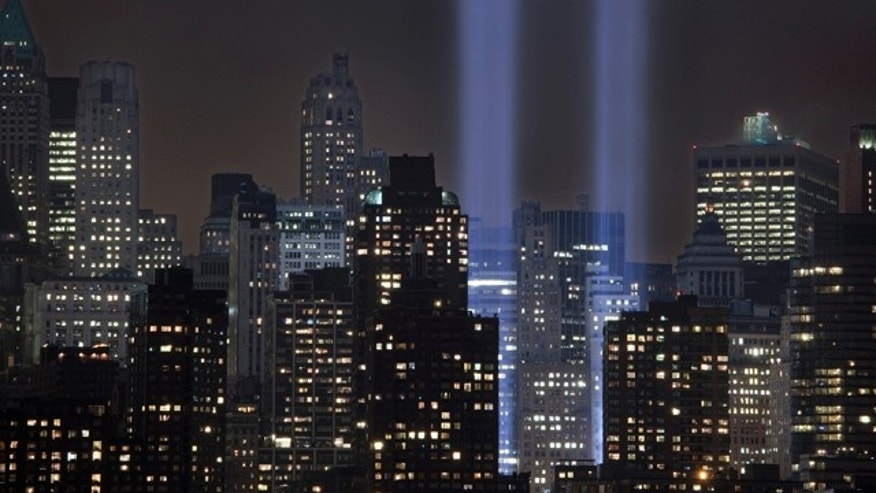 Sept. 6, 2011: A test of the Tribute in Light rises above lower Manhattan in New York. The memorial, sponsored by the Municipal Art Society, will light the sky on the evening of Sept. 11, 2011 in honor of those who died ten years before in the terror attacks on the United States.