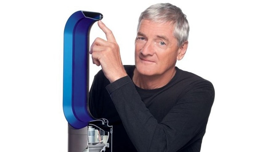 Inventor James Dyson eyes his latest: a heater that senses ambient air temperature and automatically adjusts itself to keep it consistent.