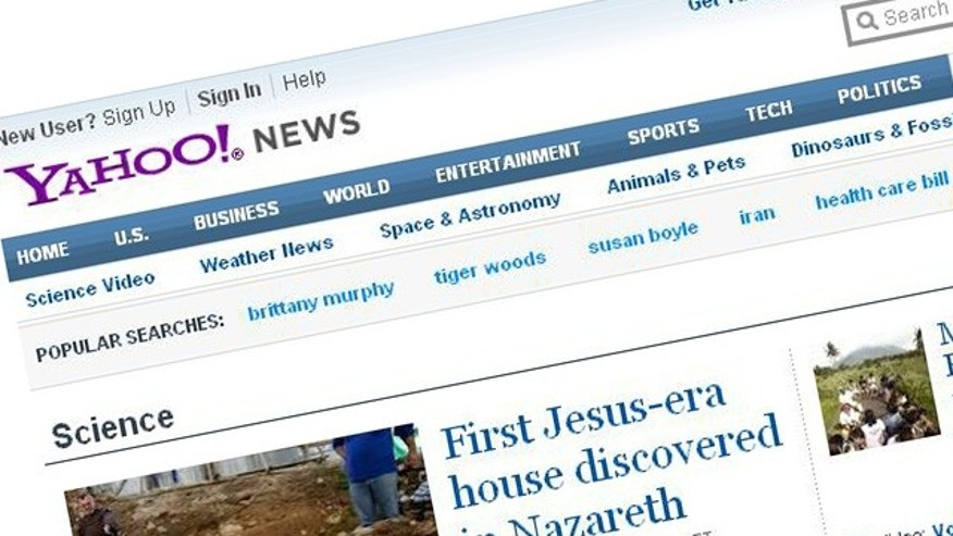 A screenshot of the website for Internet giant Yahoo.com.