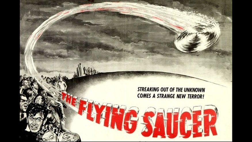 "Promotional poster for the 1950 film ""The Flying Saucer."""