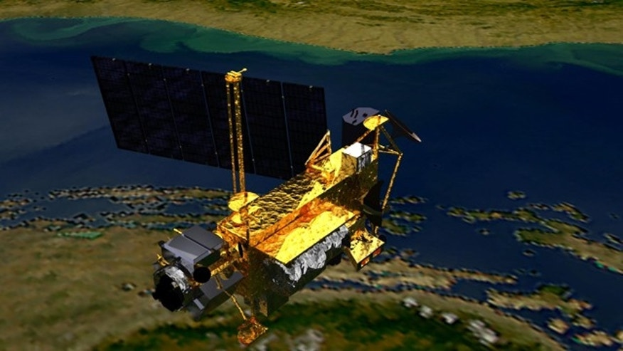 An artist's concept of the Upper Atmosphere Research Satellite (UARS) satellite in space. The 6 1/2-ton satellite was deployed from space shuttle Discovery in 1991 and decommissioned in December 2005.