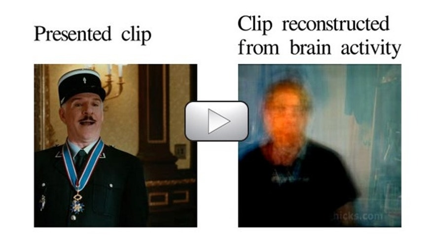 The approximate reconstruction (right) of a movie clip (left) is achieved through brain imaging and computer simulation.