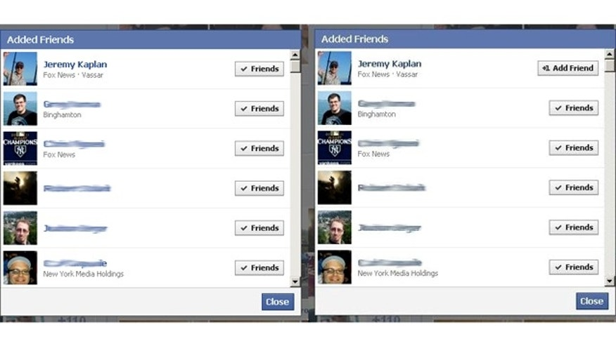 A quirk in Facebook's latest redesign may reveal some awkward information. At left, a list exposed by the new design of friends. At right, the same list after one friend has decided to end that online friendship.