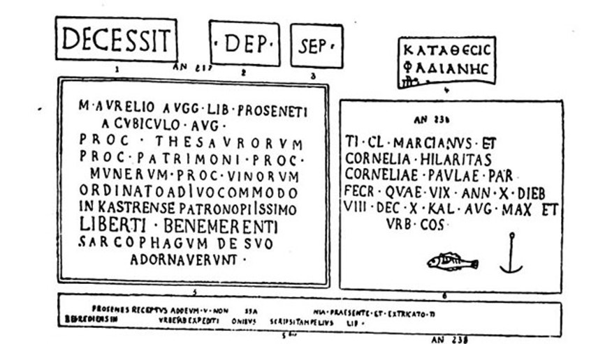 Scholars have identified what appears to be the world's earliest Christian inscription, dating to the second century. It is in the collection of the Capitoline Museums in Rome which could not release an image at press time. Shown here are examples of other early Christian inscriptions, copied in 1880.