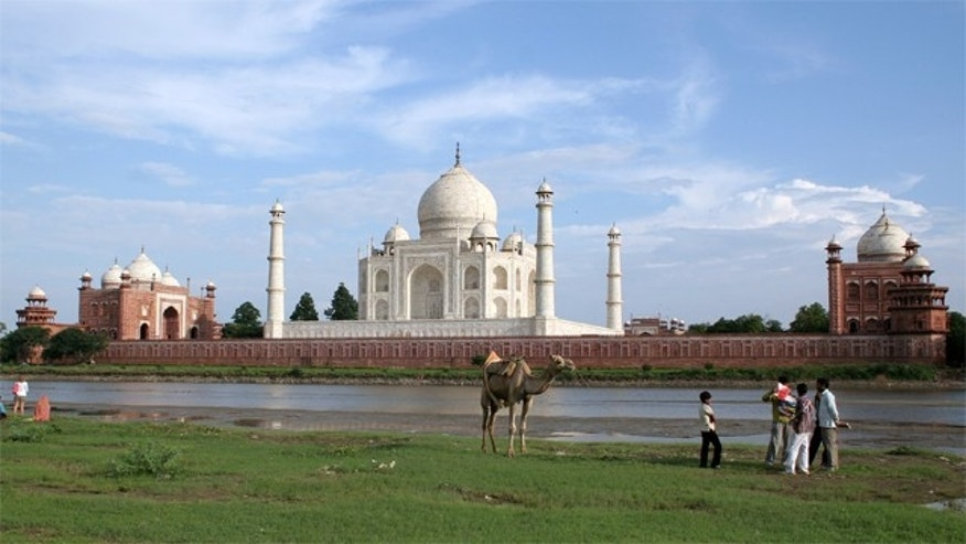 The Taj Mahal seen from the banks of river Yamuna