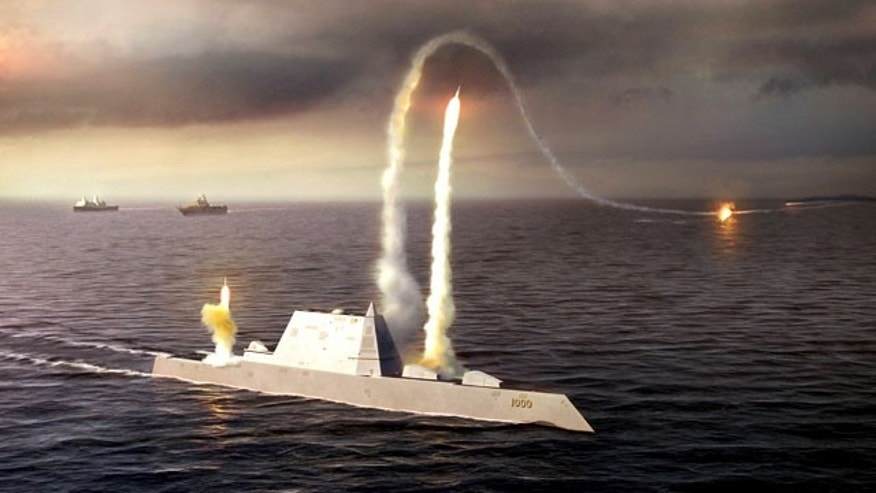 An artist rendering of the Zumwalt-class destroyer DDG 1000, a proposed and now cancelled class of U.S. Navy ship designed for stealth.