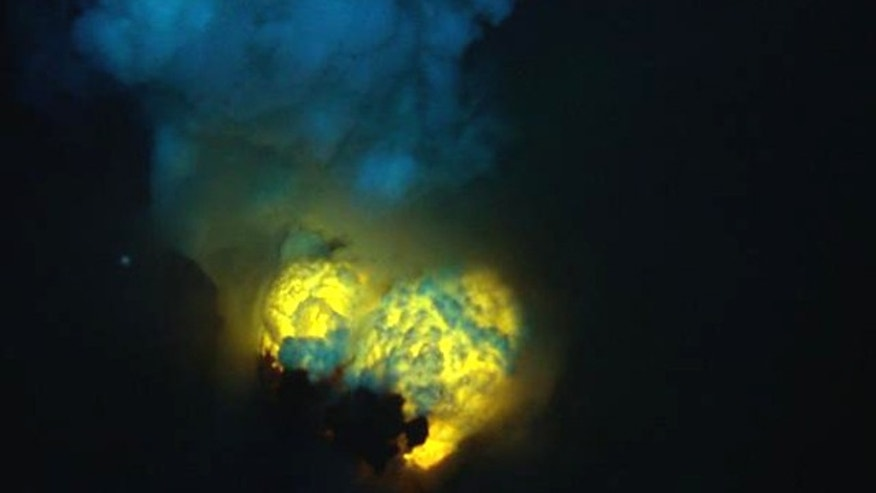 A double bubble of magma forms at Hades Vent at West Mata submarine volcano.