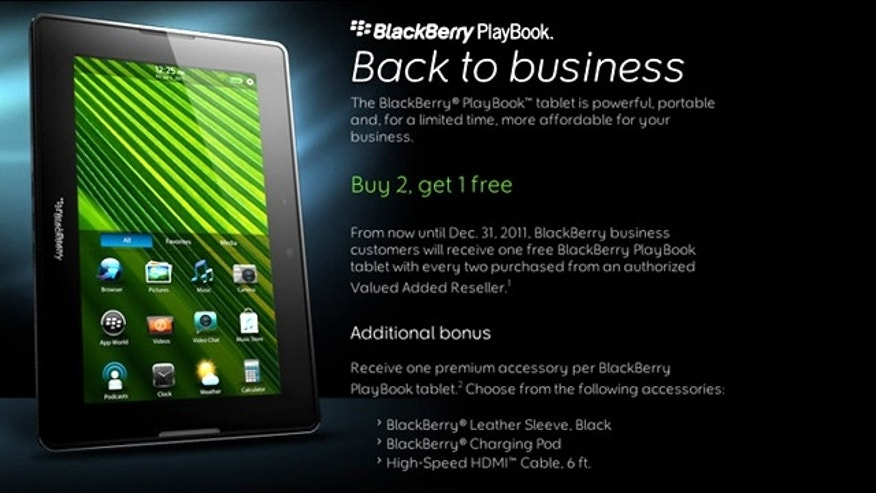 To boost sagging sales, RIM has come out with a new offier: free BlackBerry PlayBook tablets.
