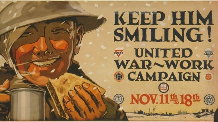 A World War I poster encourages the purchase of war bonds. The Dentist In A Box product has a similar goal -- smiling soldiers.