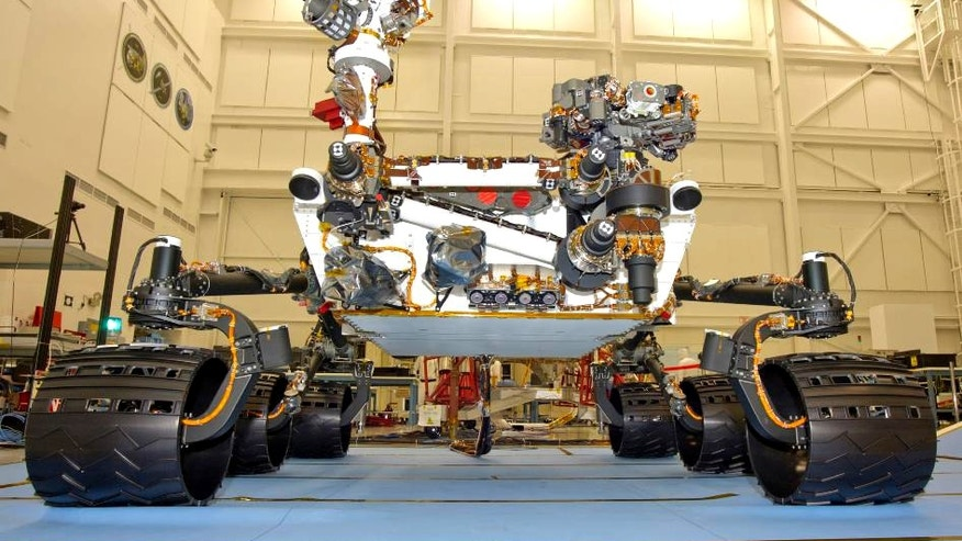 June 3, 2011: The NASA Mars Science Laboratory rover, Curiosity, seen during final mobility testing inside the Spacecraft Assembly Facility at NASA's Jet Propulsion Laboratory, Pasadena, Calif.
