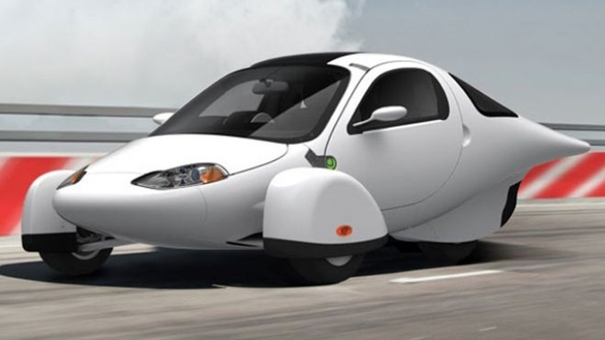 The Aptera 2e, a unique three-wheeled electric car.