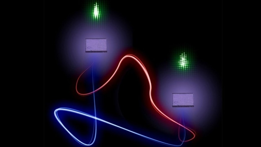 The vibrational states of two spatially separated, millimeter-sized diamonds are entangled at room temperature by beaming laser light at them (green). The researchers verified this entanglement by studying the subsequent laser pulses beamed through the system.