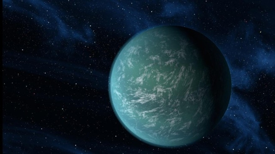 "This artist's conception illustrates Kepler-22b, a planet known to comfortably circle in the habitable zone of a sun-like star. It is the first planet that NASA's Kepler mission has confirmed to orbit in a star's ""habitable zone"" -- the region around a star where liquid water, a requirement for life on Earth, could persist."