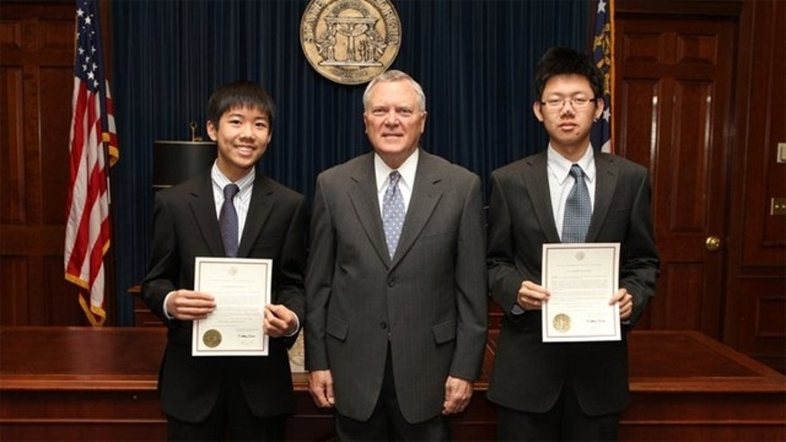 National Finalists Stan Chen and Tim Wu were honored by Governor Deal of Georgia for receiving a $20,000 scholarship in the team category of the Siemens Competition in Math, Science and Technology for their mathematics project, Cellular Automata to More Efficiently Compute the Collatz Map.