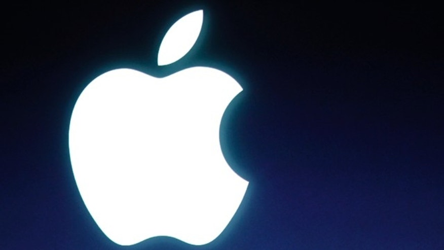 The Apple logo is seen during an announcement at Apple headquarters in Cupertino, Calif.