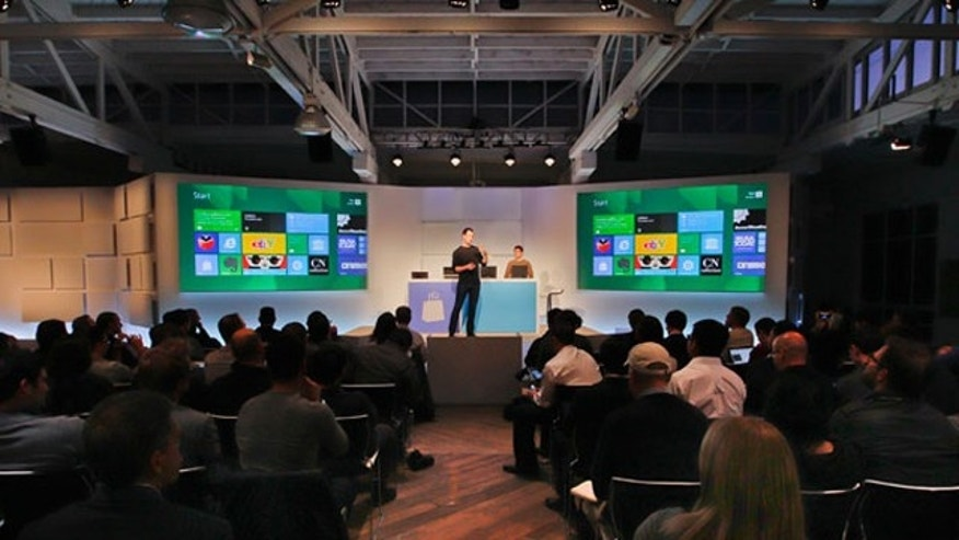 Dec. 6, 2011: Antoine Leblond, corporate vice president of Windows Web Services, gave a preview of the Windows Store, a part of the Windows 8 operting system, at a developer event in San Francisco, Calif.