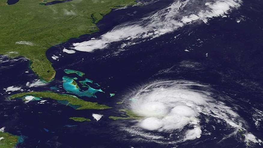 Aug. 23, 2010: An image released by NOAA made from the GEOS East satellite shows Hurricane Irene as it passes over Puerto Rico and the Dominican Republic.