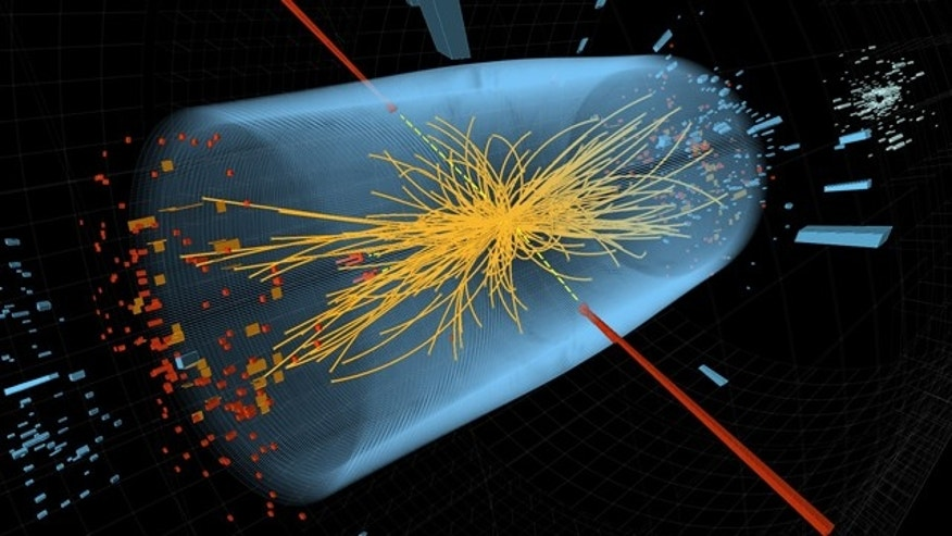 Dec. 10, 2011: Two high-energy photons shown as red towers are smashed together in the LHC. The yellow lines are the measured tracks of other particles produced in the collision -- possible evidence in the hunt for the Higgs Boson.
