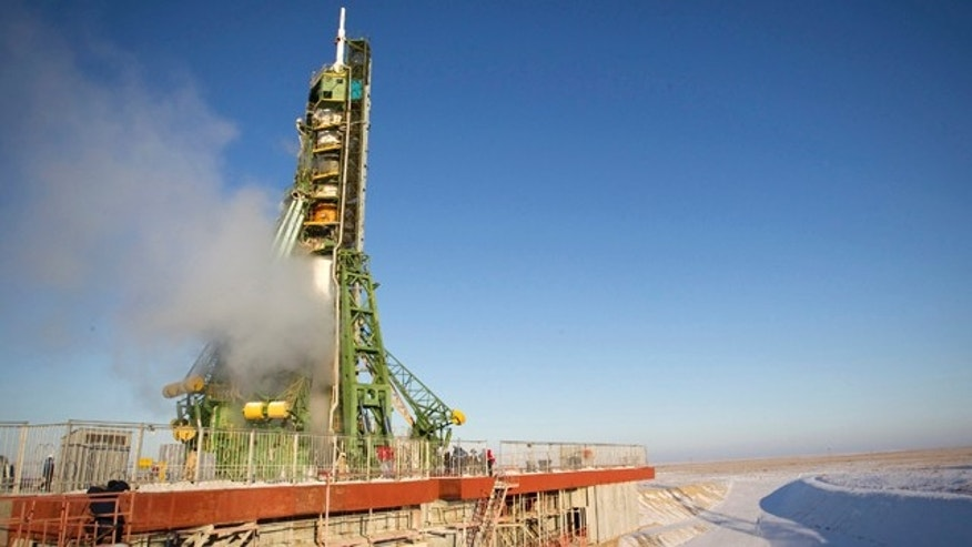 Dec. 21, 2011: The Soyuz TMA-03M spacecraft rests on its launch pad before the blast off with the International Space Station (ISS) crew of U.S. astronaut Donald Pettit, Russian cosmonaut Oleg Kononenko and Dutch astronaut Andre Kuipers at Baikonur cosmodrome.