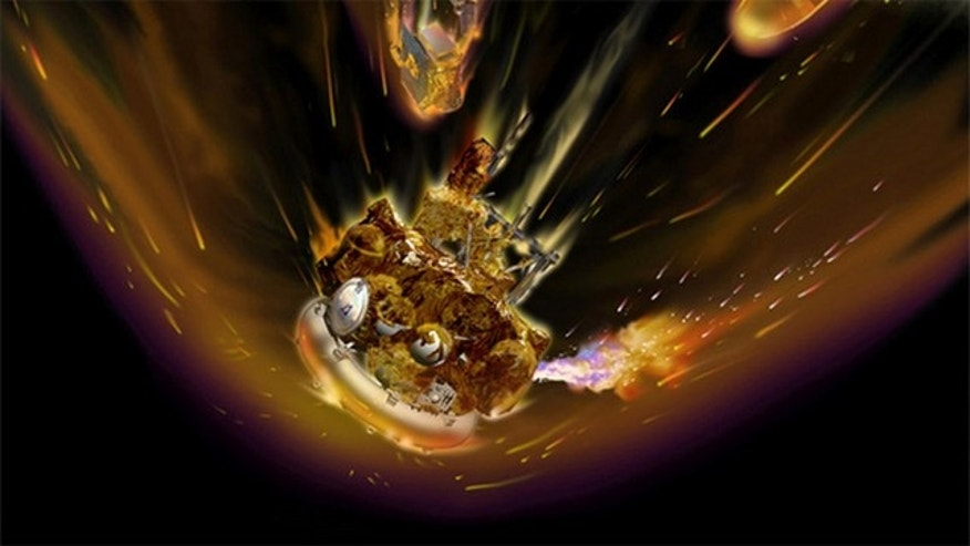 This artist's impression of the reentring Phobos-Grunt probe shows the ruptured fuel tanks ablaze as it tumbles through the atmosphere.