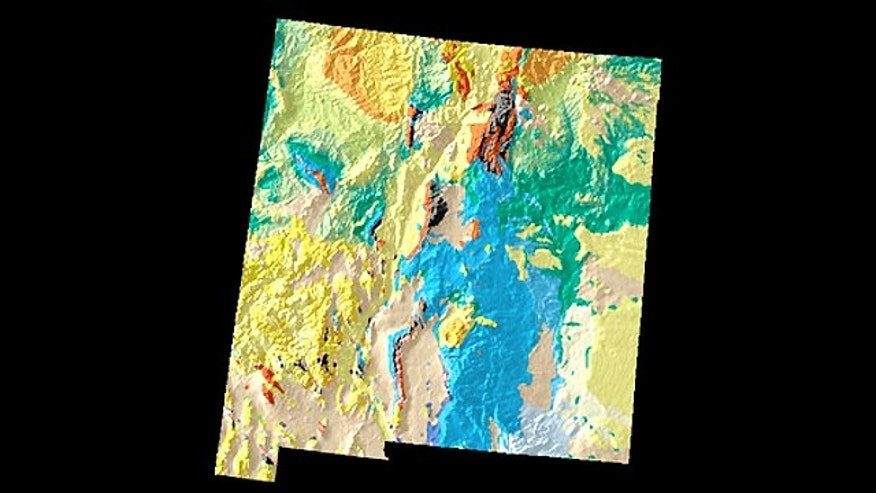 A geologic and topographic map of New Mexico, showing the ages of the rocks that make up the state: yellow and orange rocks come from the Tertiary Period and are 40 to 6o million years old, while blue colors indicate Permian-era rocks that can be as much as 250 million years old.
