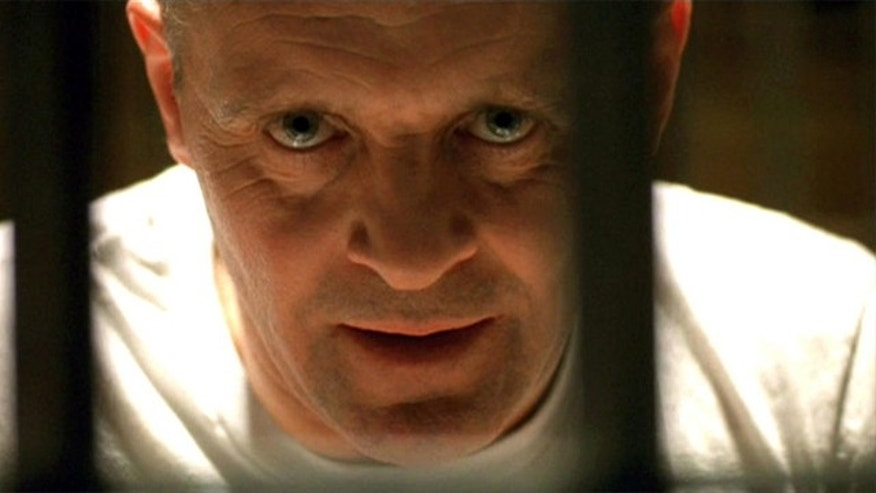 "Anthony Hopkins as Hannibal Lecter, a serial killer in the 1991 film ""The Silence of the Lambs."""