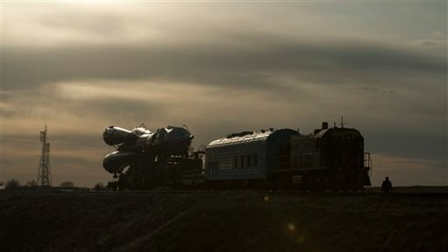 March 31: The Soyuz TMA-18 spacecraft is rolled out by train to the launch pad at the Baikonur Cosmodrome in Kazakhstan.  The launch of the Soyuz spacecraft with Expedition 23 Soyuz Commander Alexander Skvortsov of Russia, Flight Engineer Mikhail Kornienko of Russia and NASA Flight Engineer Tracy Caldwell Dyson is scheduled for Friday, April 2, 2010 at 10:04 a.m. Kazakhstan time.