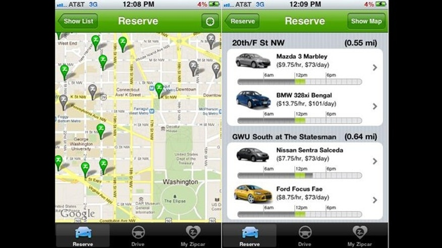 Thousands of college students and city-dwellers have ditched car ownership for Zipcar's service, accessible online and through the app shown here. And prices could be lower -- if not for government policies.