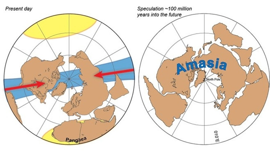 A prediction of the future supercontinent, Amasia, named for its fusing the Americas and Asia by closure of the Arctic Ocean and Caribbean Sea. Predicted convergence directions are shown with red arrows. Amasia will be located 90° away from the geographic center of the last supercontinent Pangaea -- near present-day Africa.