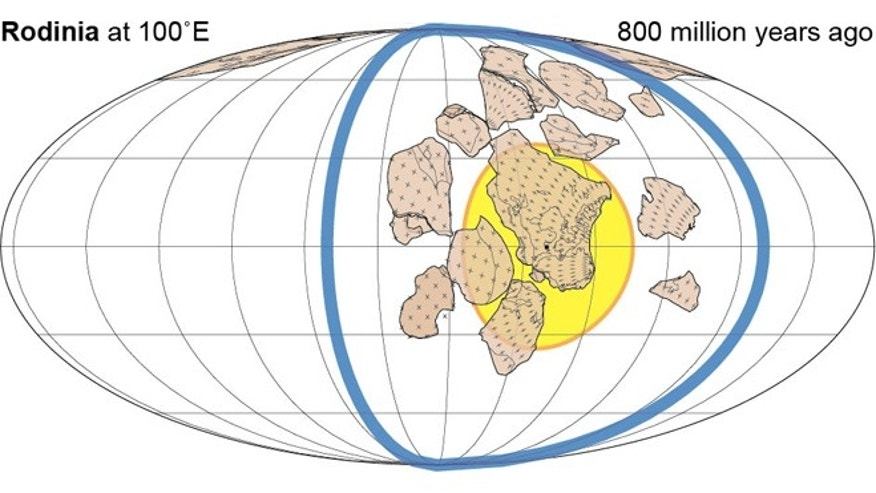 According to previous complete supercontinent transitions, a succeeding supercontinent forms 90° away, within the great-circle of subduction (blue) encircling its relict predecessor (yellow). Absolute reconstructions including palaeolongitude can be made for the past two supercontinents: Here Rodinia is depicted.