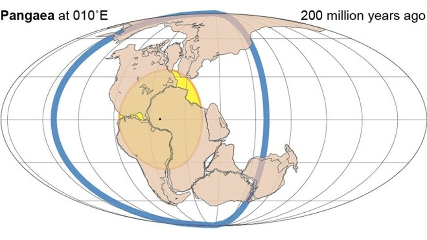 According to previous supercontinent transitions, a succeeding supercontinent forms 90° away, within the great-circle of subduction (blue) encircling its relict predecessor (yellow). Absolute reconstructions including palaeolongitude can be made for the past two supercontinents, such as Pangaea shown here.