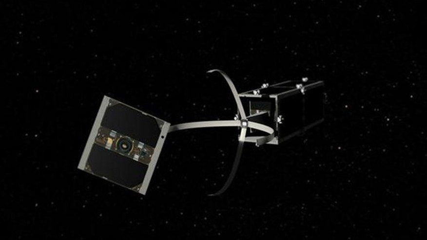 Feb. 15, 2012: the CleanSpace One satellite reaches its target and unfolds its bio-inspired gripping mechanism.