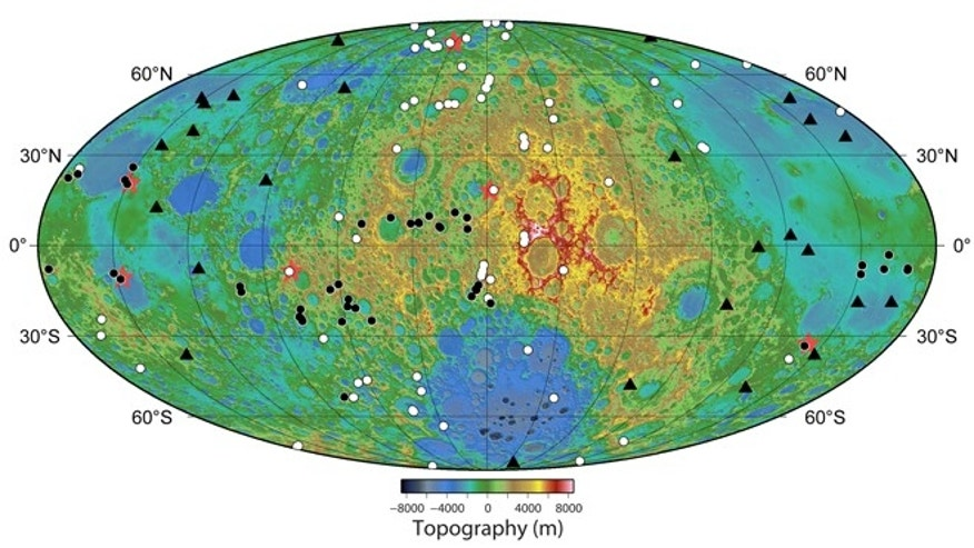 Locations of newly discovered young graben (red stars)  trenchlike scars  on the moon along with recently detected (white dots) and previously known (black dots) contractional lobate scarps. The newfound graben are widely distributed and located near lobate scarps. The locations of 26 shallow moonquakes recorded by the Apollo seismic network with stations at the Apollo 12, 14, 15, and 16 landing sites are shown by the (black triangles).