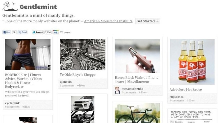 "Meet Gentlemint, a site described as ""Pinterest for manly men."""
