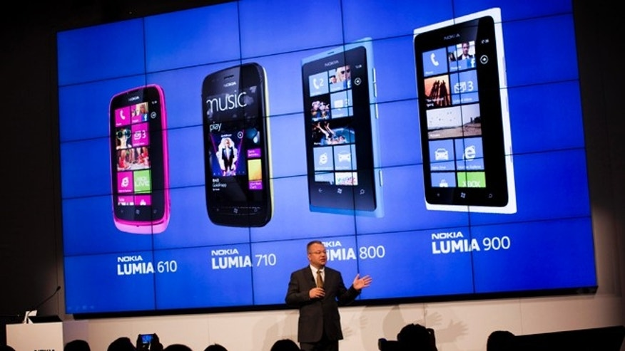 Feb. 27, 2012: The chief executive officer of Nokia Corporation Stephen Elop, talks to the journalists during a press conference at the Mobile World Congress in Barcelona, Spain. The struggling cell phone maker has unveiled two new handsets that it hopes will revive its fortunes.