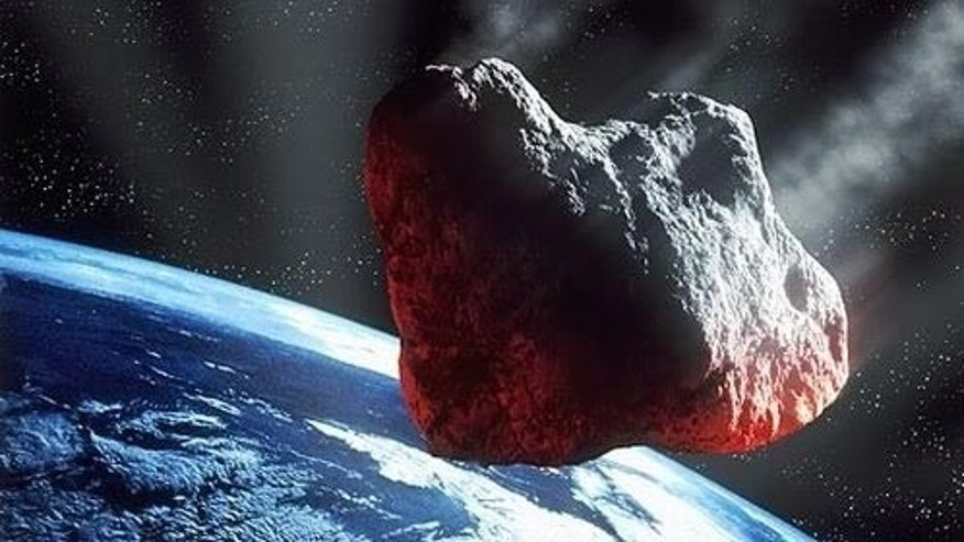 An artist's illustration of a large asteroid headed for Earth.