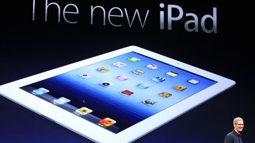 March 7, 2012: Apple CEO Tim Cook introduces the new iPad during an event in San Francisco. The new iPad model features a sharper screen and a faster processor. Apple says the new display will be even sharper than the high-definition television set in the living room.