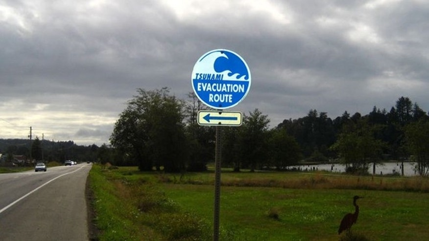 Tsunami evacuation route indicator along the coast of Oregon.